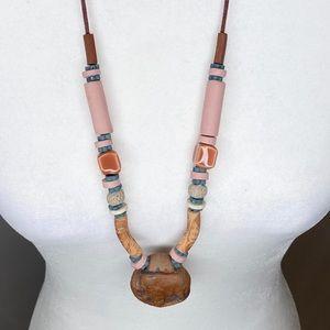 Vintage boho ceramic clay necklace earth tones